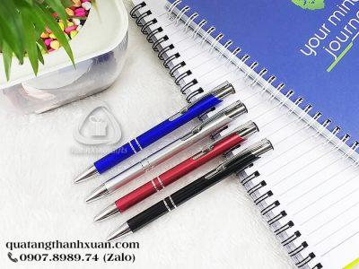Bút Kim Loại Bấm Có Viền Bạc - AL9028